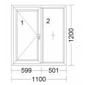CORA 3 camere 1100[± 5cm] X 1200[± 5cm], batant stanga + fix