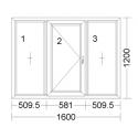 CORA 3 camere 1600[± 5cm] X 1200[± 5cm] fix + batant stanga + fix