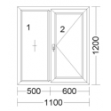 CORA 5 camere 1100[± 5cm] x 1200[± 5cm] fix + batant dreapta