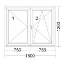 CORA 5 camere 1500[± 5cm] x 1200[± 5cm] inactiv stanga + oscilobatant dreapta