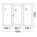 CORA 5 camere 1600[± 5cm] x 1200[± 5cm] fix + batant dreapta + fix