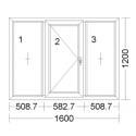 CORA 5 camere 1600[± 5cm] x 1200[± 5cm] fix + batant stanga + fix