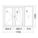 CORA 5 camere 1700[± 5cm] x 1200[± 5cm] inactiv stanga + oscilobatant dreapta + fix