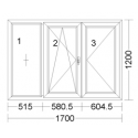 CORA 5 camere 1700[± 5cm] x 1200[± 5cm] fix + oscilobatant stanga + inactiv dreapta