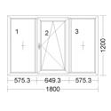 CORA 5 camere 1800[± 5cm] x 1200[± 5cm] fix + oscilobatant dreapta + fix
