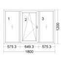 CORA 5 camere 1800[± 5cm] x 1200[± 5cm] fix + oscilobatant stanga + fix