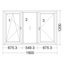 CORA 5 camere 1900[± 5cm] x 1200[± 5cm] oscilobatant stanga + fix + batant dreapta