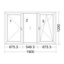 CORA 5 camere 1900[± 5cm] x 1200[± 5cm] batant stanga + fix + oscilobatant dreapta