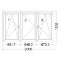 CORA 5 camere 2000[± 5cm] x 1200[± 5cm] oscilobatant stanga + inactiv stanga + oscilobatant dreapta